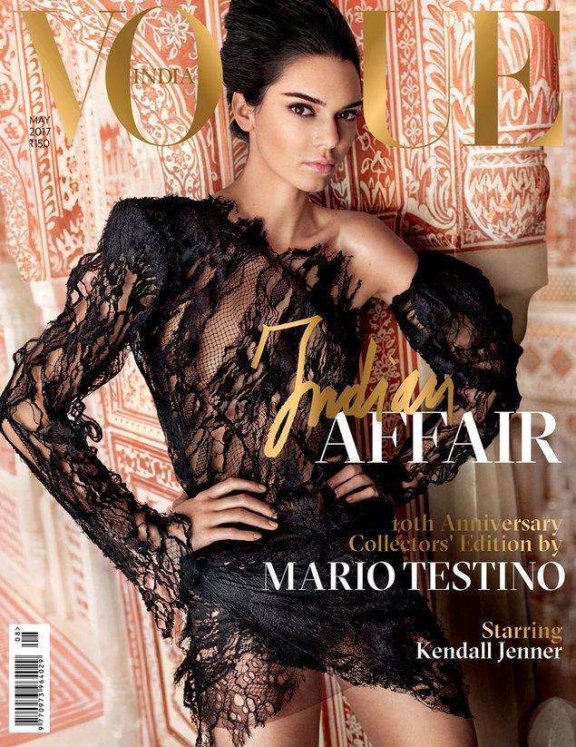 קנדל ג'נר על שער גיליון חגיגי במהדורה מוגבלת של ווג הודו לרגל 10 שנים למגזין, מאי 2017 (אתר רשמי , Mario Testino)