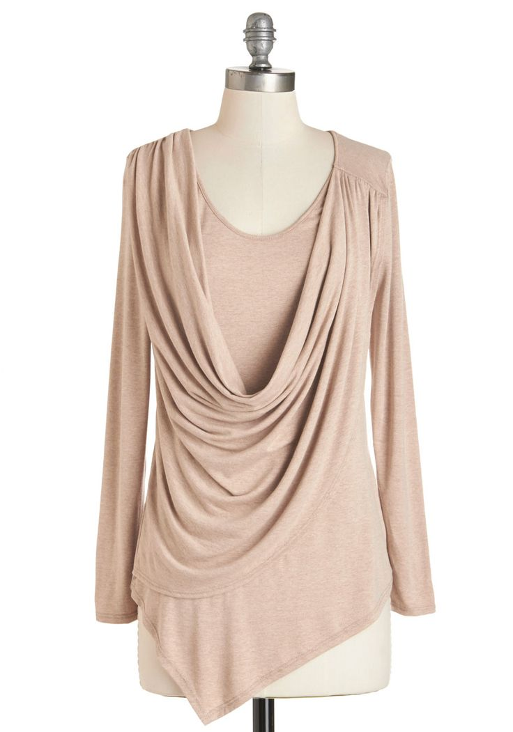 Draped in Delight Long-Sleeved Top in Sand. Give your casual ensembles an extra touch of charm by slipping into this heathered-tan top! #tan #modcloth