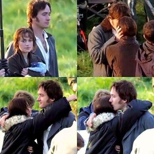 Awwww  ~ Behind the Scenes ~ Matthew Macfadyen (Fitzwilliam Darcy) and Keira Knightley (Elizabeth Bennet)