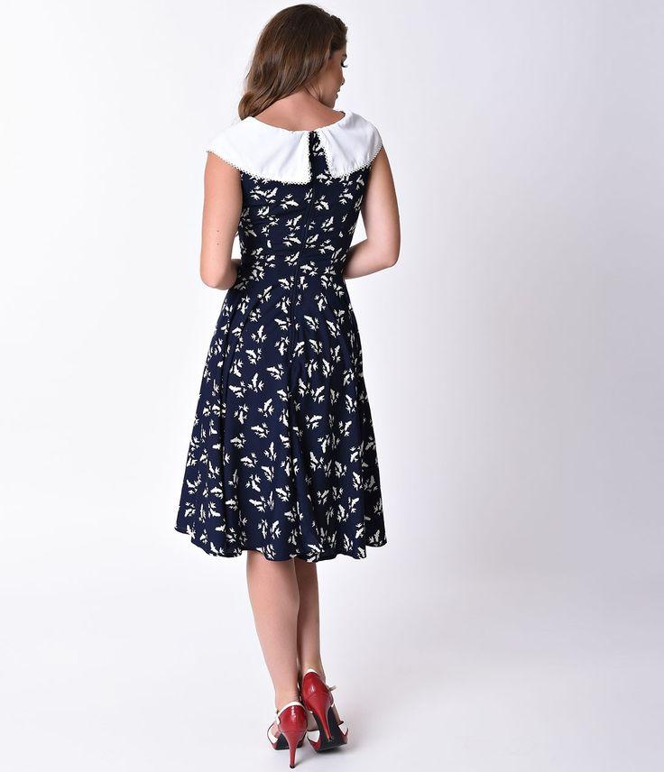 1950 Infierno conejito Estilo del azul marino y blanca del pájaro Imprimir vestido de oscilación Ada - Swing - Vestidos - Ropa | único de la vendimia