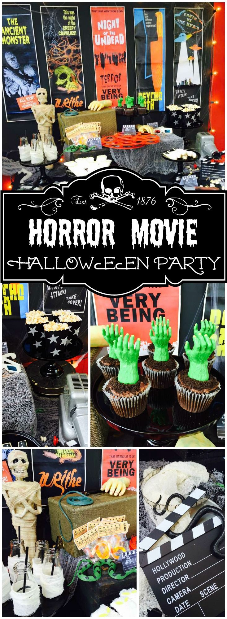 How awesome is this vintage horror movie Halloween party