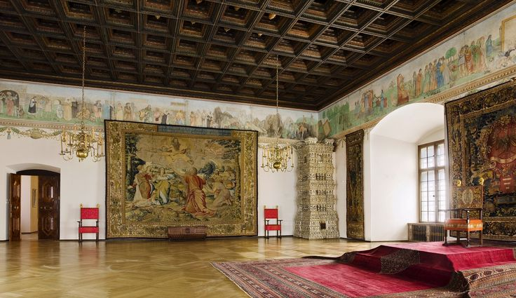 Envoys' Room at the Wawel Castle where the sessions of the Lower House of Parliament were held, adorned with a coffered ceiling by Sebastian Tauerbach from 1540, painted freize by Hans Dürer from 1532 and tapestries from Sigismund Augustus' collection