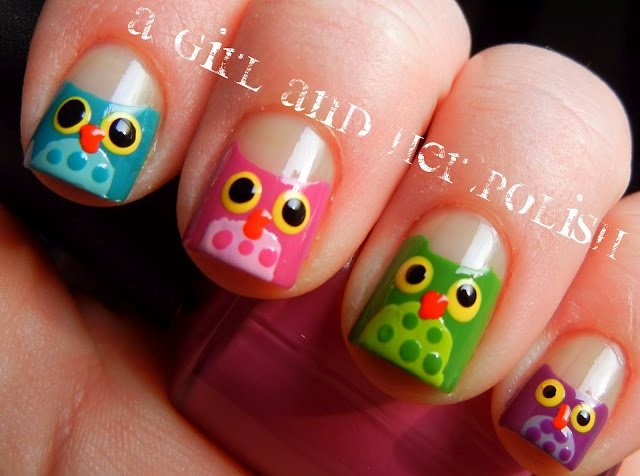 more cute owl nails