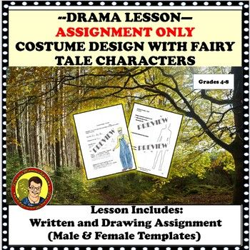 drama lesson costume design assignment only with fairy tale characters tpt resources. Black Bedroom Furniture Sets. Home Design Ideas