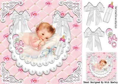 Baby girl on pearl and white lace bib with white bows 8x8 on Craftsuprint - Add To Basket!