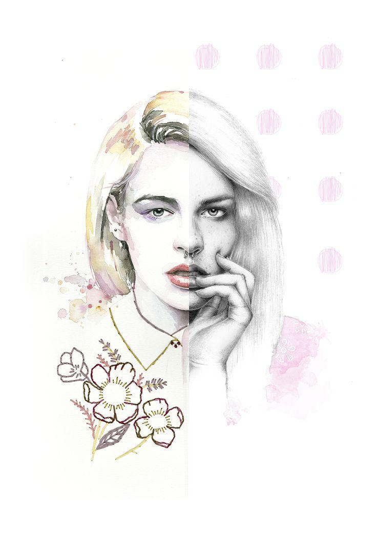 Colaboración Almu Ruiz y Anantes. Retrato de Sarawberry a lápiz, acuarela y bordados. Watercolor, pencil and embroidery