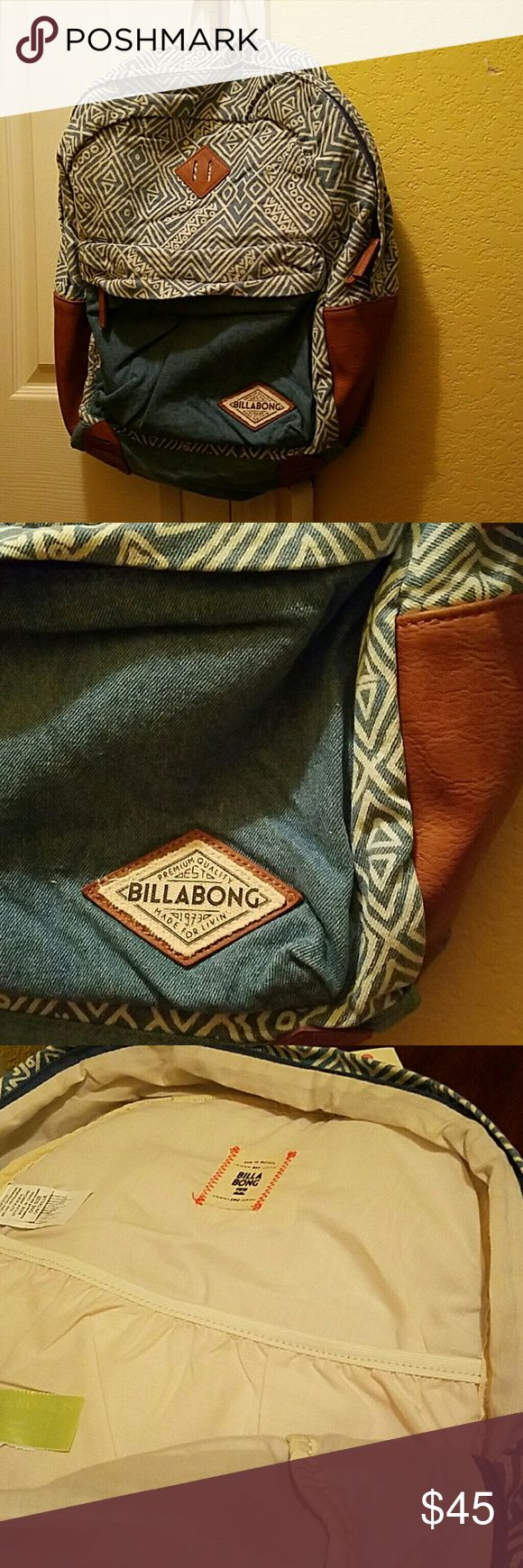 Hidden Trek Denim Backpack by Billabong. Beautiful bag NWT. Essential for travel needs or school. It also has space for laptop. It doesn't have pockets on the side. Bag only has one small pocket on the front and one large pocket. PRICE IS FIRM... Billabong Bags Backpacks