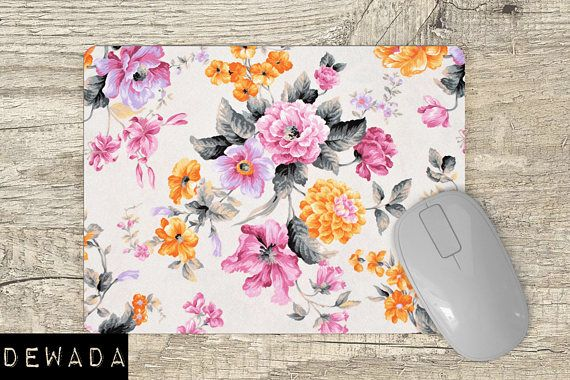 Floral Mouse Pad  pink flowers, orange flowers