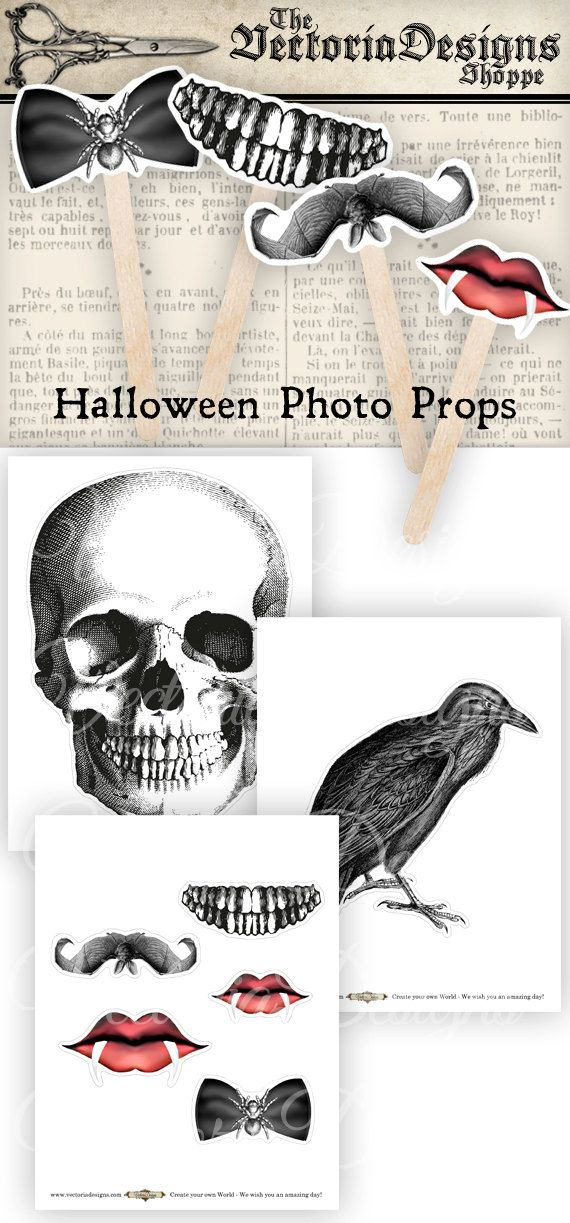 INSTANT DOWNLOAD    Printable Halloween Photo Props - print, cut and glue on a stick as many times as you like.  Great for Halloween parties!