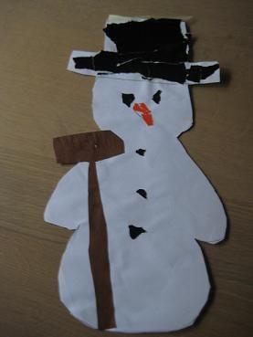 sneeuwpop - sneeuwman, knutselen voor peuters en kleuters