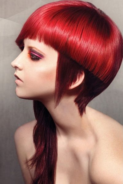 Edgy Asymmetrical Fire Engine Red Hairstyle