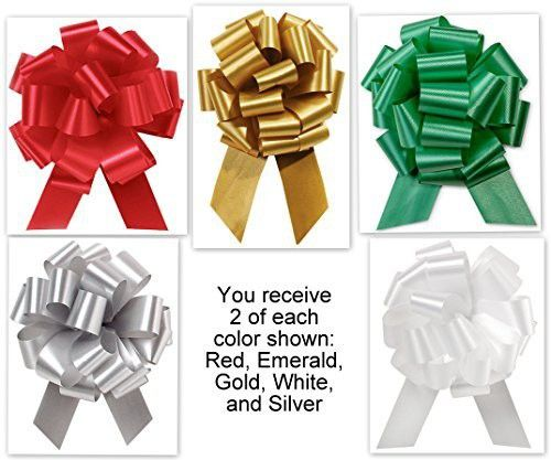 """5.5"""" Pull Bows - 20 loops - 10 Pack Christmas Colors Mixed Collection Flora Satin 5.5"""" Pull Bows - 20 loops - 10 Pack"""