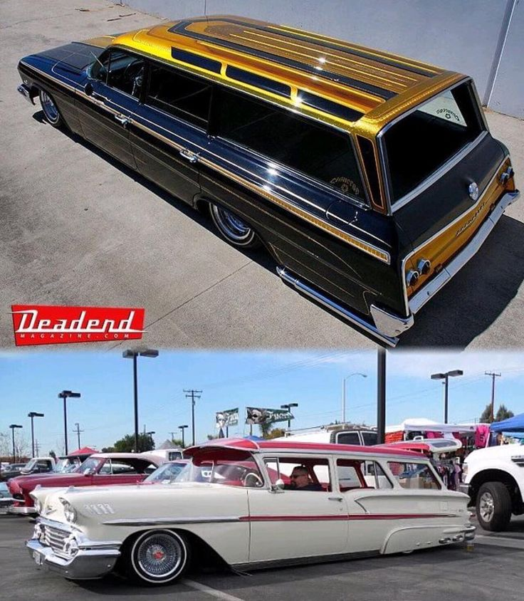 Love these wagons. #longroof #lowrider #lowriders #kustoms #kustomkulture #chevywagon #patternedtop #62impala #58chevy #hydros #hydraulics #deadendmagazine @csnrs