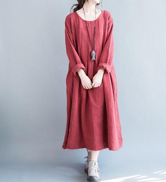 Fabrics; cotton Color; red, gray Size Shoulder 46cm / 18  Bust 120cm / 47  Sleeve 55cm / 21   Waist 140cm / 55   length 118 cm / 46     Have any