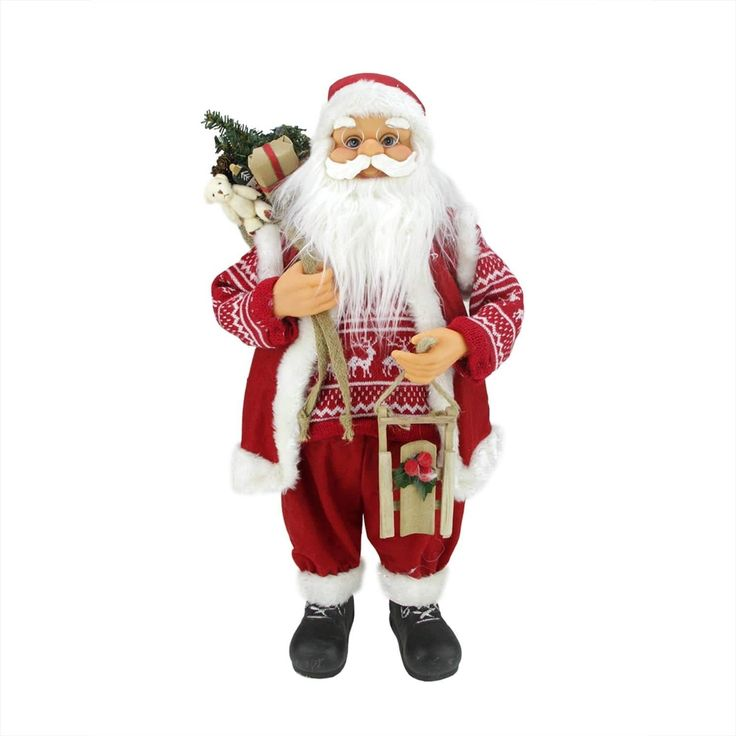 """24"""" Country Twist Standing Santa Claus Christmas Figure with Snow Sled and Gift Bag"""