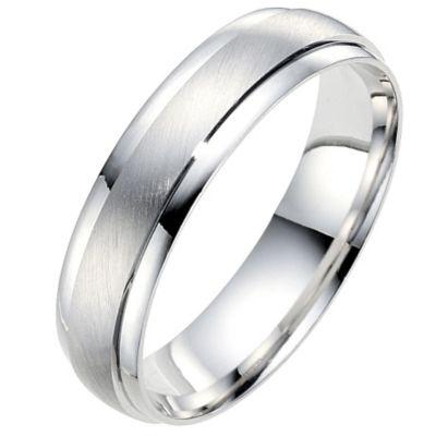 male engagement ring polished white gold band - Wedding Ring Man