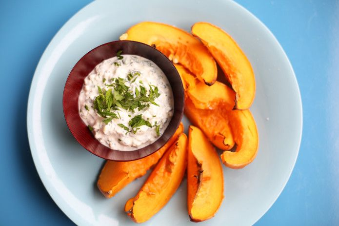 Squash Wedges with Cool Cottage Cheese Dip Landscape - a perfect starter or side dish for Autumn. Recipe from my YouTube channel.