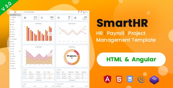 SmartHR (HTML 5 + Angular) - HR, Payroll & Project Management Admin