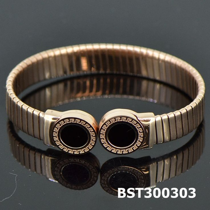 Fashion Stainless Steel Rose Golden Bangle Onyx#BST300303
