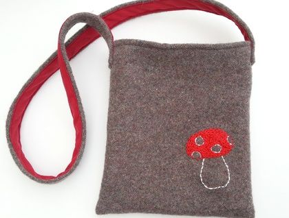 Kid's Foraging Bag - Mushroom Reclaimed wool and hand embroidery SOLD https://cherryberry.felt.co.nz