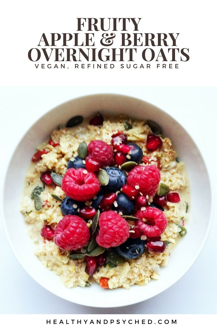 fruity apple and berry vegan overnight oats