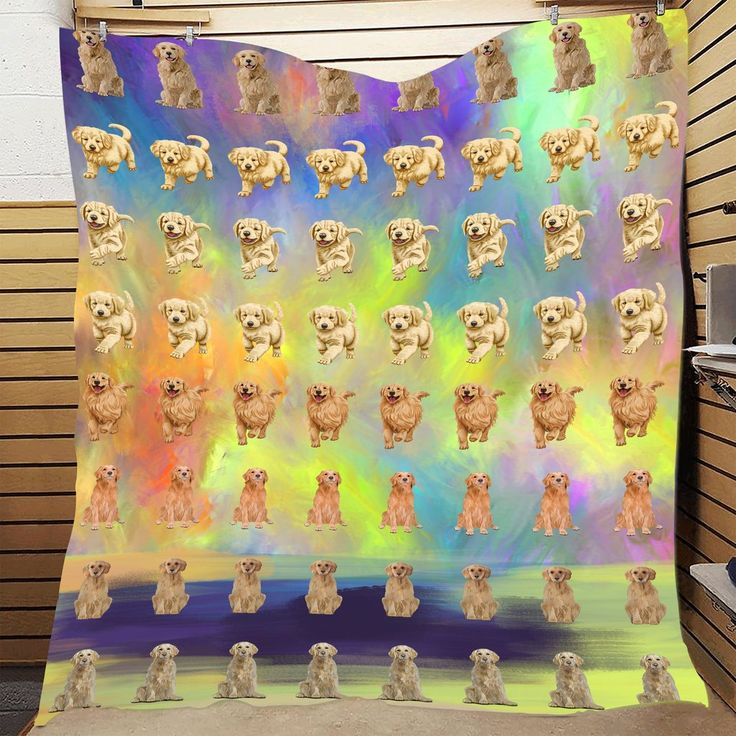 Paradise Wave Golden Retriever Dog Quilt In 2020 Dogs