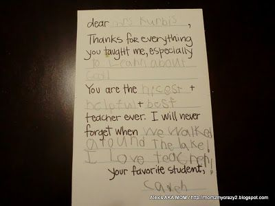 Fill In Thank You Teacher Letter (kids Write In Blanks)