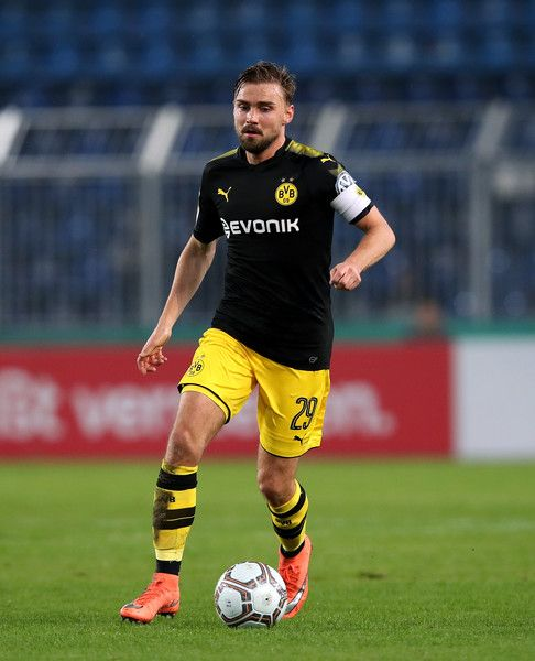 Marcel Schmelzer of Dortmund runs with the ball during the DFB Cup match between 1. FC Magdeburg and Borussia Dortmund at MDCC-Arena on October 24, 2017 in Magdeburg, Germany. - 45 of 47