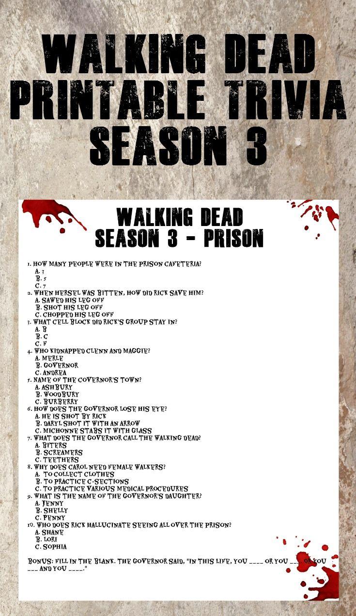 Walking Dead Printable Trivia - Season 3 #fun #printable #walkingdead