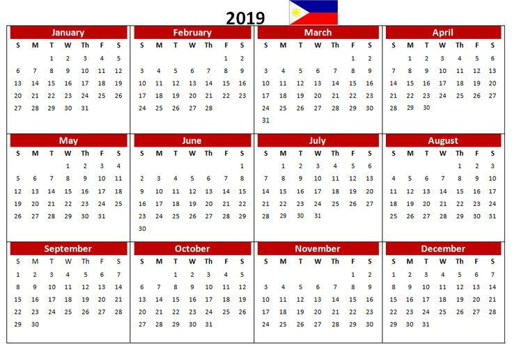 philippines 2019 pdf printable calendar 2019 Calendars Pinterest