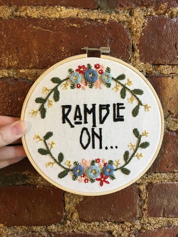 Hand Embroidery | Led Zeppelin Ramble | Floral border @etsy - Cutiosities  $65