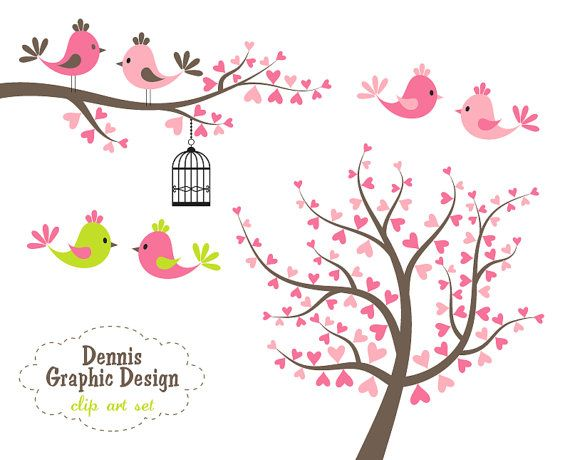 Really cute bird + heart clipart ... cute idea for chalkboard during Valentine's day ...