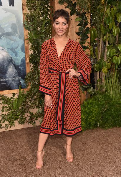 Cush Jumbo Wrap Dress - Cush Jumbo looked vibrant in a geometric-print wrap dress by Michael Kors at the premiere of 'The Legend of Tarzan.'