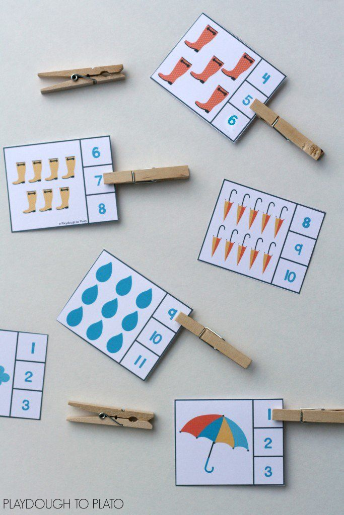 Rainy day number clip cards. Fun for a weather or spring unit! Great counting and number recognition activity for preschool.