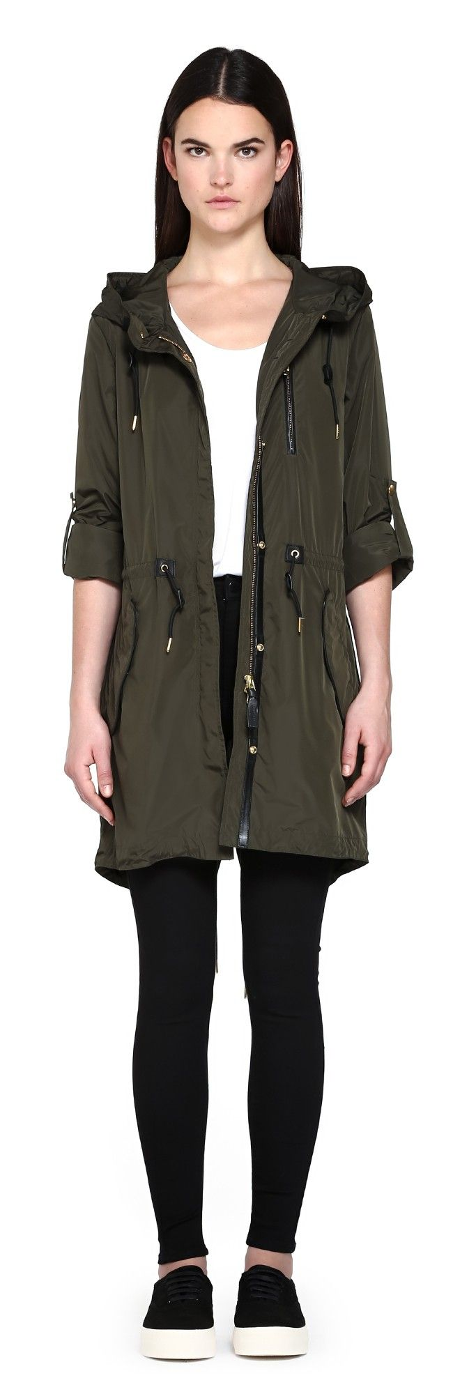 NORMA ARMY FISHTAIL PARKA RAINCOAT WITH HOOD | FOR WOMEN | Mackage