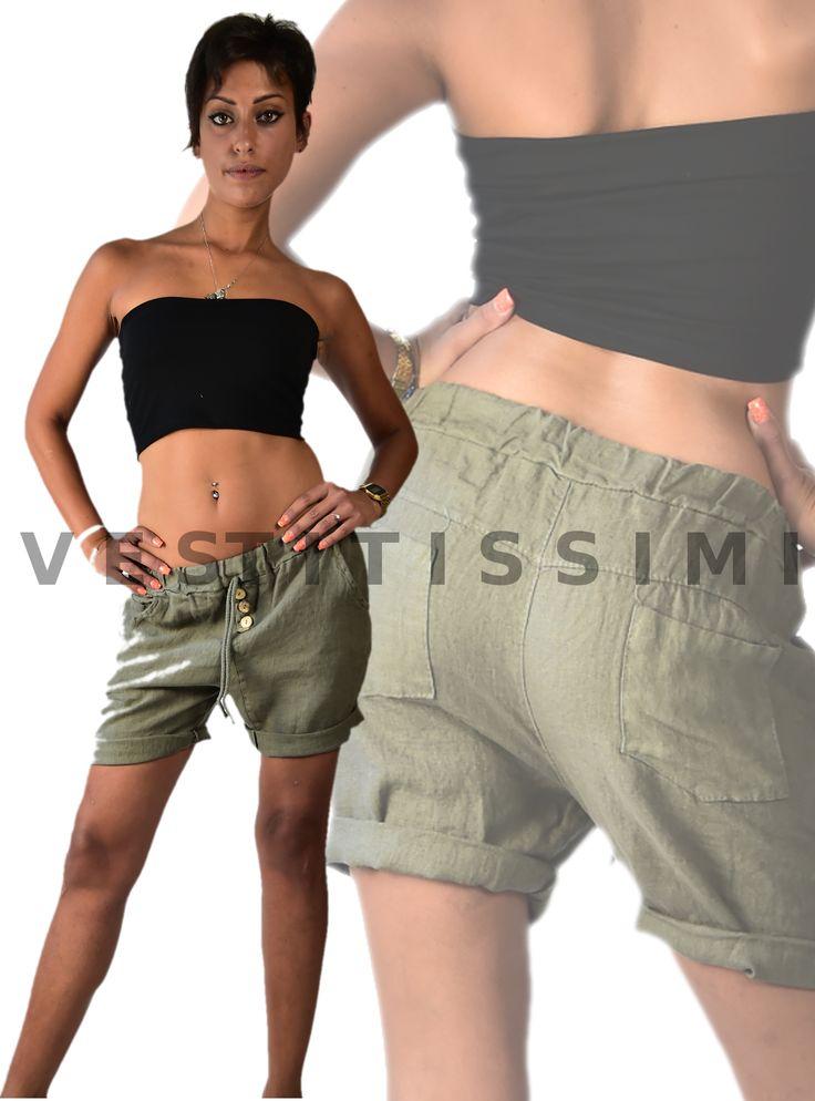 Pantaloncini donna in puro lino  Shorts donna eleganti. Pantaloncini corti, fantasia tinta unita, presentano una serie di bottoni frontali solo ornamentali, così come il laccio in vita, una fascia elastica in vita,due tasche frontali e due posteriori. .  Il Pantalonicino made in Italy, perfetto per un look casual.