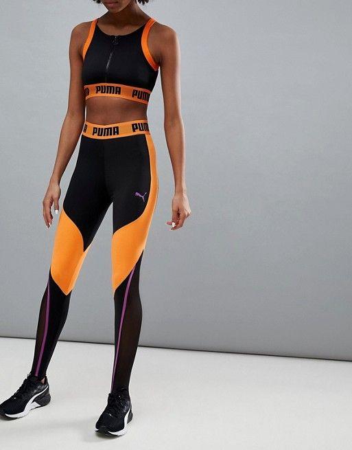 3842ec867f0ac7 Puma Exclusive To ASOS Panelled Legging In Black And Orange in 2019 ...
