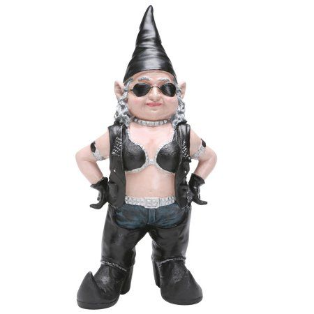 Homestyles - Biker Gnomes - Biker Babe the Gnome Garden Girl Gnome in Leather Riding Gear Figurine Statue 14.5 inchH, Multicolor