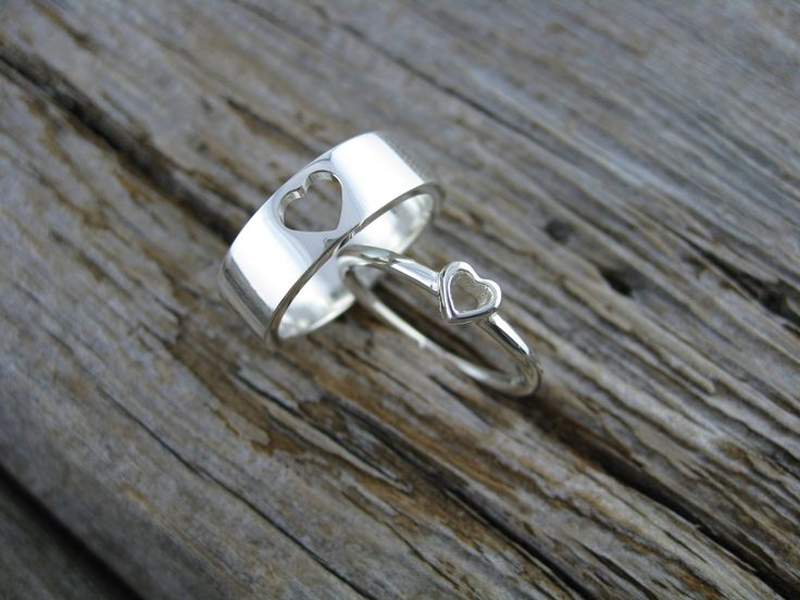 sweet heart bands that fit together like lego in sterling silver available individually or as a set