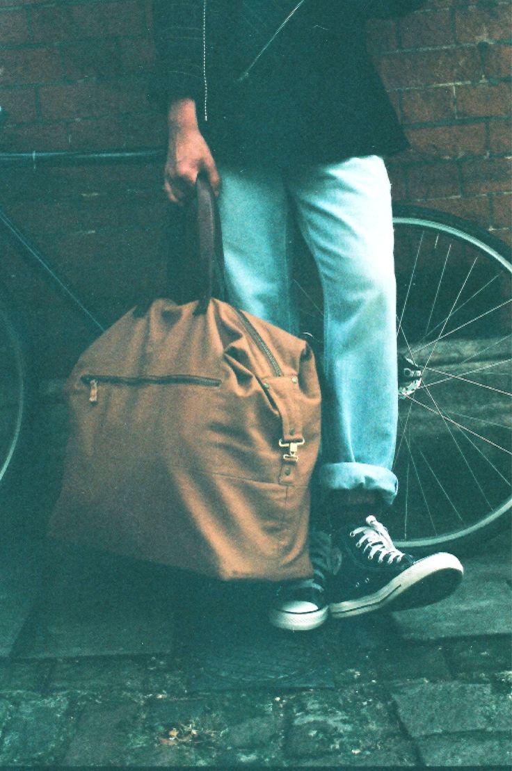 Light brown overnight bag by Beyond Retro