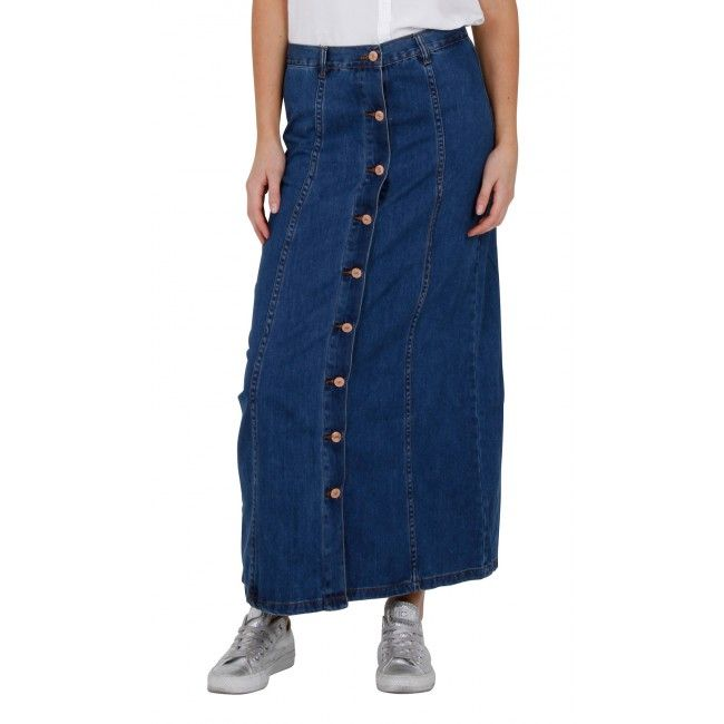Button Front Long Denim Skirt - Stonewash