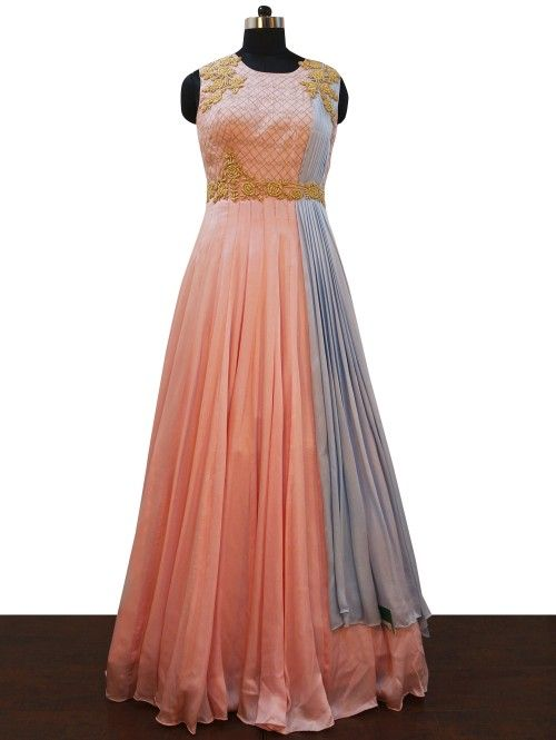 Pink and Grey Silk Gown with Cutwork