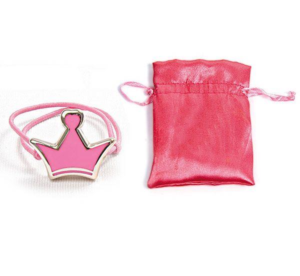 Pulsera infantil corona lacada rosa en bolsa