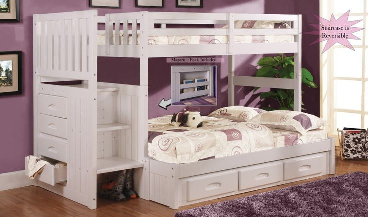 Discovery World Furniture Twin over Full White Staircase Bunk Bed - Bunk Beds with Stairs - BEDS