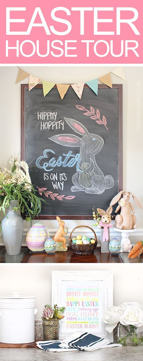 Easter house tour! Perfect for Spring ~ lots of Easter home decor and an Easter chalkboard design!