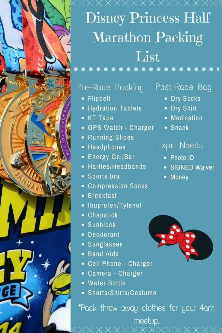 runDisney Princess Half Marathon Packing List