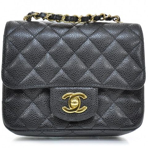 CHANEL Classic Black Caviar Gold Chain Square Mini Quilted Flap Bag | Guaranteed authentic pre-owned luxury goods from EUROTRASH Chapel St, Melbourne