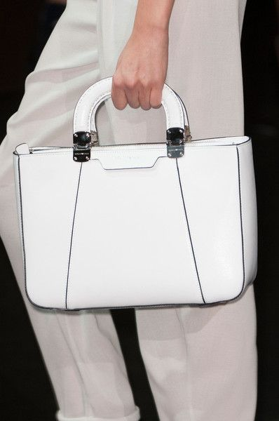 White Leather Bag | Emporio Armani | Milan Fashion Week Spring 2015.