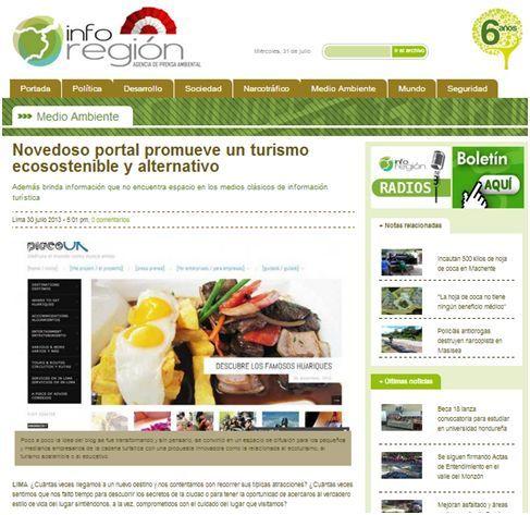 Linda nota en el prestigio portal digital informativo Inforegión Perú: http://www.inforegion.pe/medio-ambiente/163999/novedoso-portal-promueve-un-turismo-ecosostenible-y-alternativo/  ¡Gracias por el apoyo!