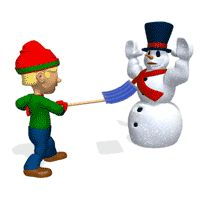 Boy Holding Up Snowman Animated Clipart